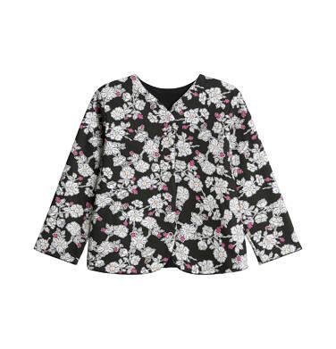 Dwustronna bluza rozpinana dla dziecka do 3 lat, czarna, kwiatowy nadruk N92C002_1
