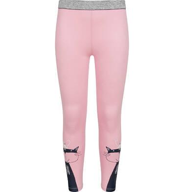 Endo - Legginsy dla dziewczynki, z kotem na nogawce, różowe, 2-8 lat D04K003_1 62
