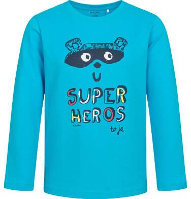 T-shirt z długim rękawem dla chłopca, z napisem i bohaterem, niebieski, 2-8 lat C05G014_1