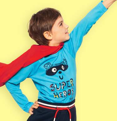 Endo - T-shirt z długim rękawem dla chłopca, z napisem i bohaterem, niebieski, 2-8 lat C05G014_1 59