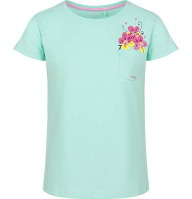 Endo - Bluzka z krótkim rękawem dla dziewczynki, z kieszonką, miętowa, 9-13 lat D03G609_2 14