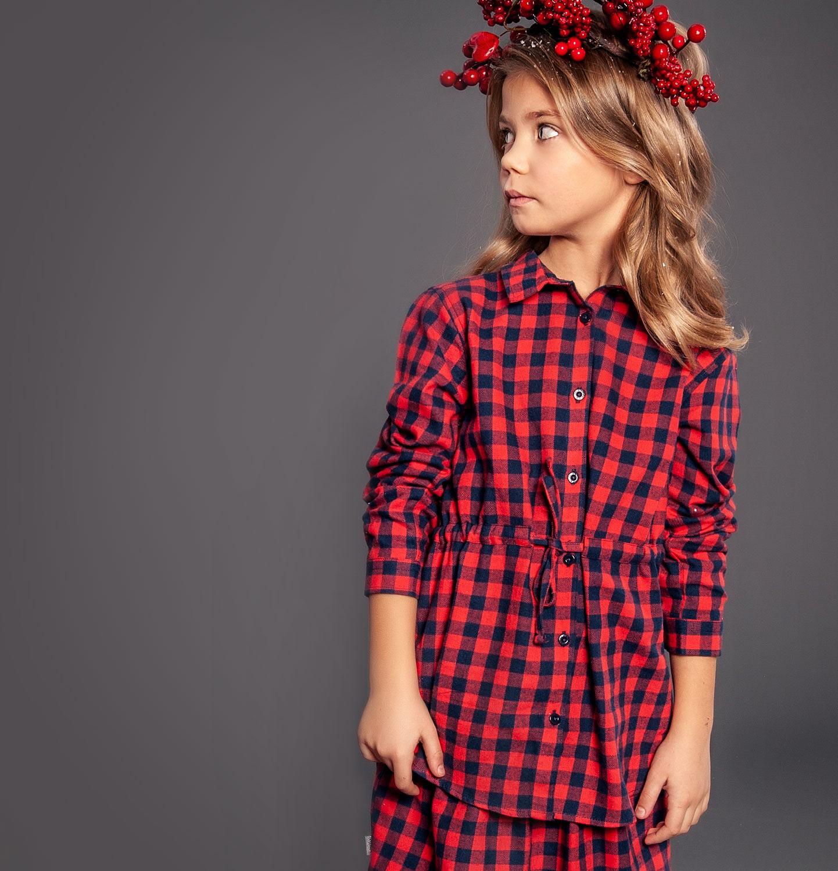 Endo - Tunika flanelowa z długim rękawem dla dziewczynki 3-8 lat D82F011_1