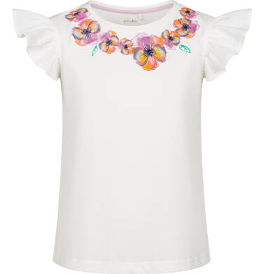 Bluzka z krótkim rękawem dla dziewczynki, z kwiatowym kołnierzykiem, porcelanowa, 2-8 lat D03G116_1