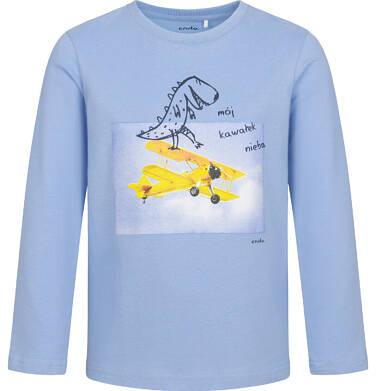 T-shirt z długim rękawem dla chłopca, z samolotem i nosorożcem, niebieski, 2-8 lat C05G151_1