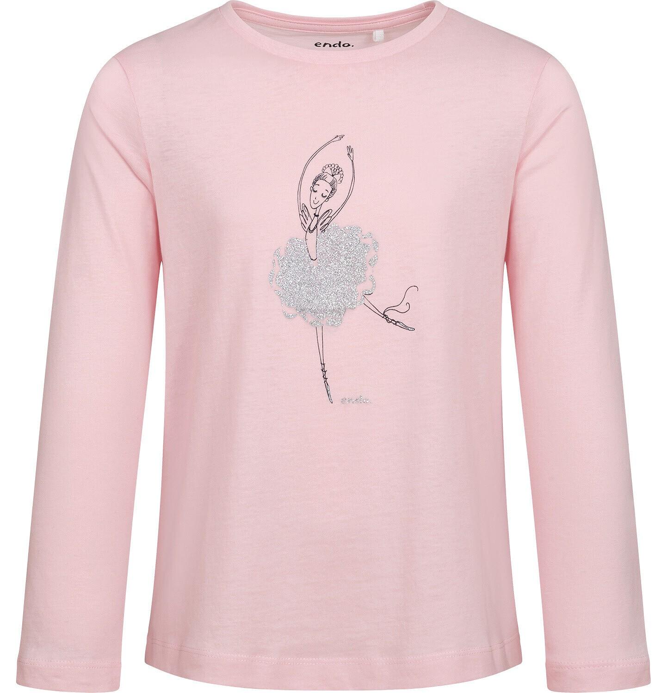 Endo - T-shirt z długim rękawem dla dziewczynki, z baletnicą, różowy, 9-13 lat D05G023_1