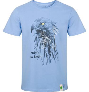 T-shirt męski z krótkim rękawem, z orłem, niebieski Q03G004_1