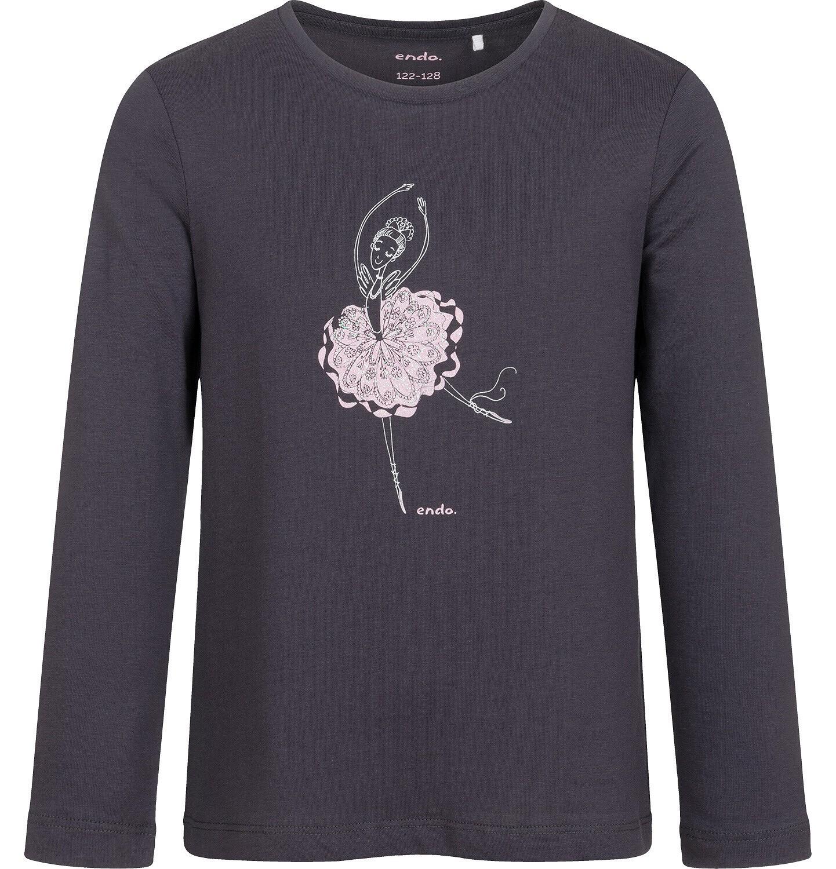 Endo - T-shirt z długim rękawem dla dziewczynki, z baletnicą, grafitowy, 9-13 lat D05G023_2