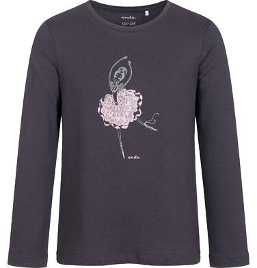 Endo - T-shirt z długim rękawem dla dziewczynki, z baletnicą, grafitowy, 9-13 lat D05G023_2,1