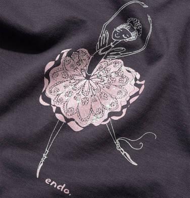 Endo - T-shirt z długim rękawem dla dziewczynki, z baletnicą, grafitowy, 9-13 lat D05G023_2,2