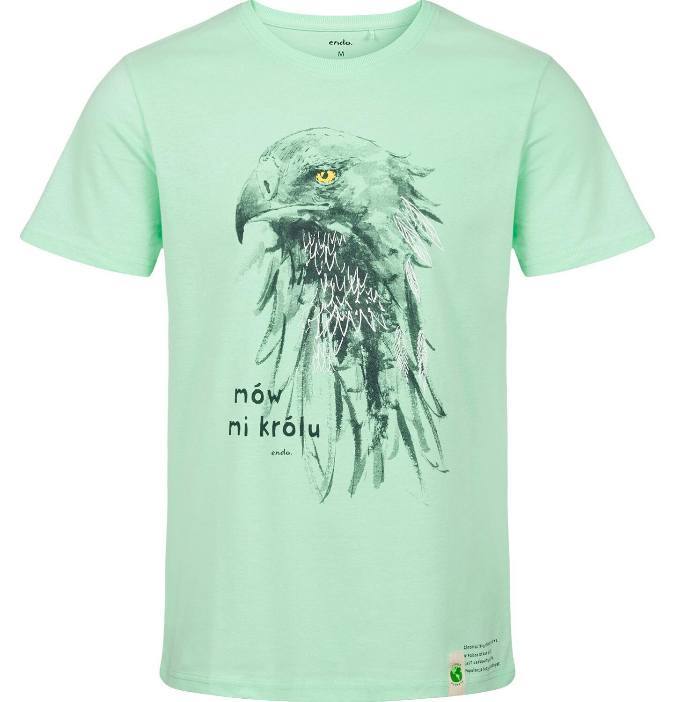 Endo - T-shirt męski z krótkim rękawem, z orłem, zielony Q03G004_2