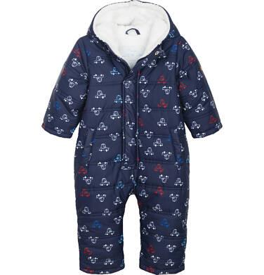Endo - Kombinezon zimowy dla młego dziecka, granatowy, deseń w samochodziki N82A019_1