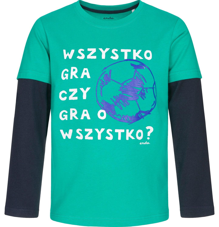 Endo - T-shirt z długim rękawem dla chłopca, kontrastujące rękawy, zielony, 9-13 lat C92G526_2