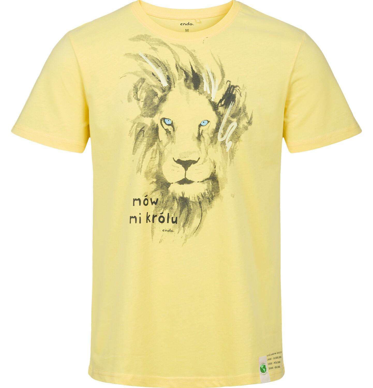Endo - T-shirt męski z krótkim rękawem, z lwem, żółty Q03G005_2