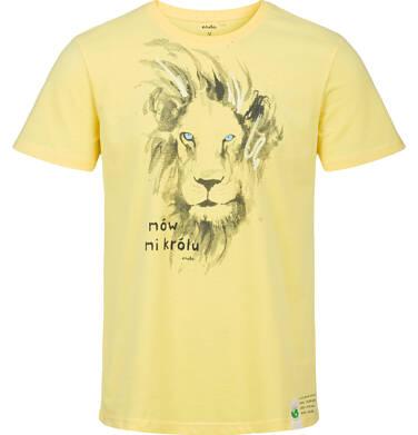 T-shirt męski z krótkim rękawem, z lwem, żółty Q03G005_2