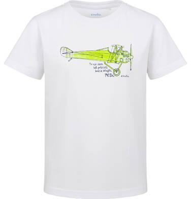 Endo - T-shirt z krótkim rękawem dla chłopca, z samolotem, biały, 2-8 lat C03G136_1