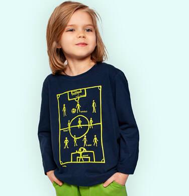T-shirt z długim rękawem dla chłopca, z boiskiem, granatowy, 9-13 lat C05G194_1