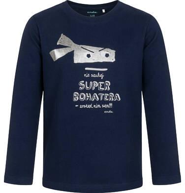 Endo - T-shirt z długim rękawem dla chłopca, z napisem i bohaterem, granatowy, 2-8 lat C05G196_1 11