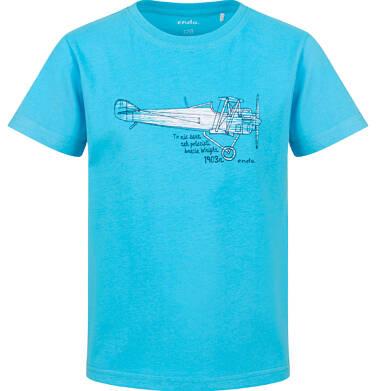 Endo - T-shirt z krótkim rękawem dla chłopca, z samolotem, niebieski, 9-13 lat C03G636_2