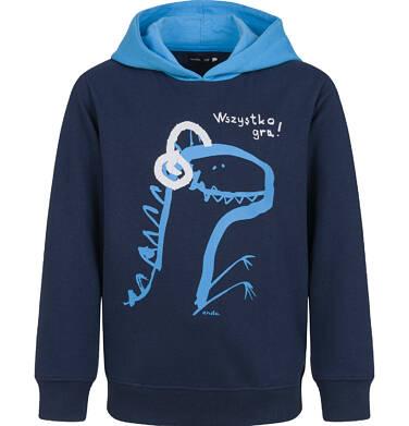 Endo - Bluza z kapturem dla chłopca, z dinozaurem, granatowa, 2-8 lat C03C035_1,1
