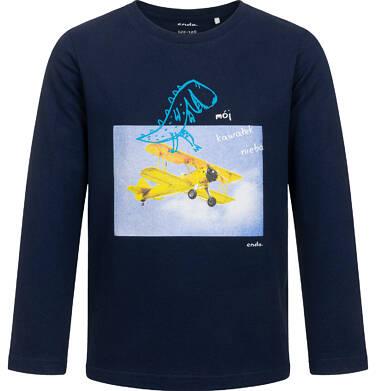 Endo - T-shirt z długim rękawem dla chłopca, z samolotem i dinozaurem, granatowy, 2-8 lat C05G199_1 9