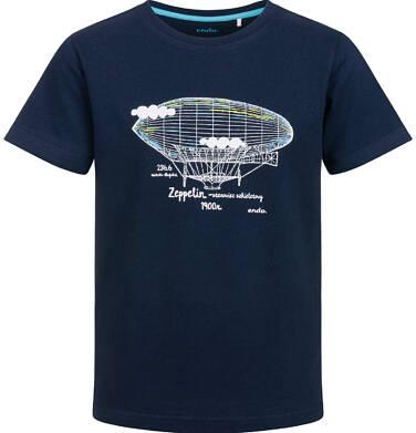 T-shirt z krótkim rękawem dla chłopca, z sterowcem, granatowy, 9-13 lat C03G637_1