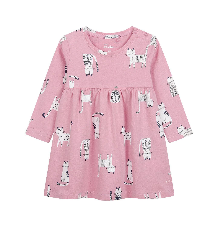 Endo - Sukienka dla dziecka do 2 lat, deseń w koty, różowa N04H017_1