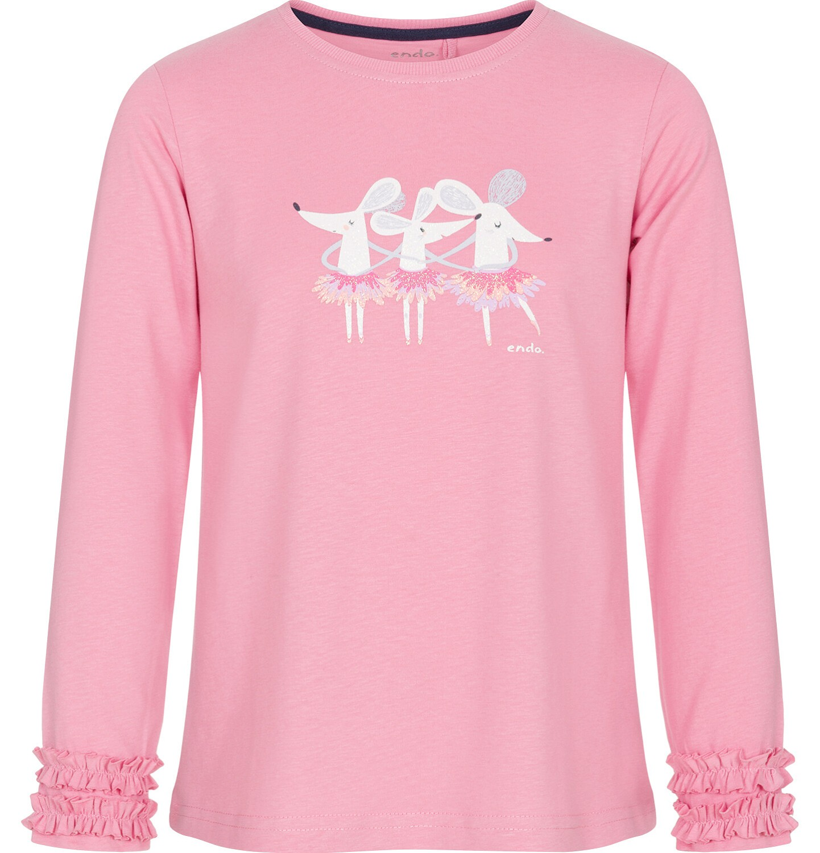 Endo - Bluzka z długim rękawem dla dziewczynki, z myszkami, różowa, 9-13 lat D92G543_1