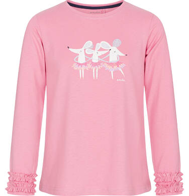 Endo - Bluzka z długim rękawem dla dziewczynki, z myszkami, różowa, 9-13 lat D92G543_1 108