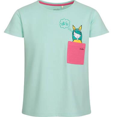 Endo - Bluzka z krótkim rękawem dla dziewczynki, z różową kieszonką, miętowa, 9-13 lat D03G528_1