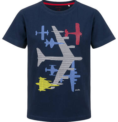 Endo - T-shirt z krótkim rękawem dla chłopca, z samolotem, granatowy, 2-8 lat C03G138_1