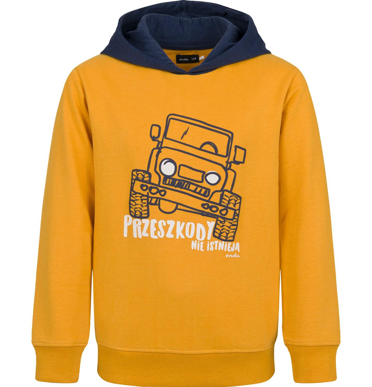 Endo - Bluza z kapturem dla chłopca, musztardowa, 9-13 lat C03C534_1