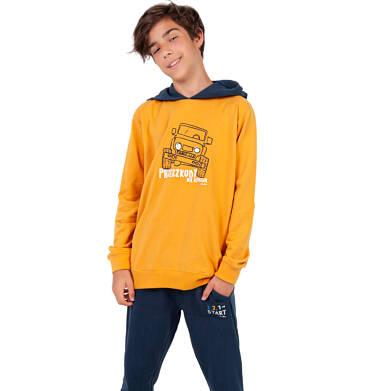 Endo - Bluza z kapturem dla chłopca, musztardowa, 9-13 lat C03C534_1 14