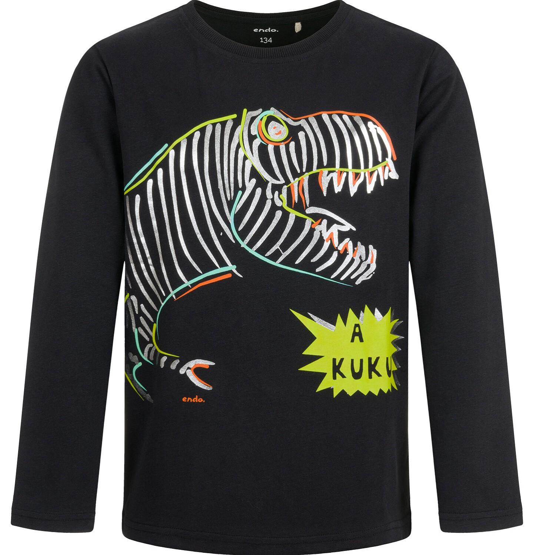 Endo - T-shirt z długim rękawem dla chłopca, z kolorowym dinozaurem, czarny, 9-13 lat C04G148_1