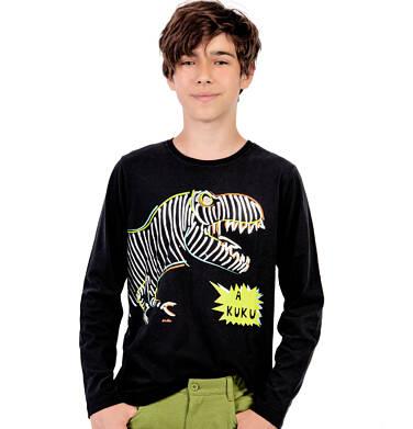 Endo - T-shirt z długim rękawem dla chłopca, z kolorowym dinozaurem, czarny, 9-13 lat C04G148_1 34