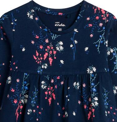 Endo - Sukienka dla dziecka do 2 lat, deseń w kwiaty, granatowa N04H018_1 2
