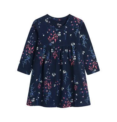 Endo - Sukienka dla dziecka do 2 lat, deseń w kwiaty, granatowa N04H018_1 15