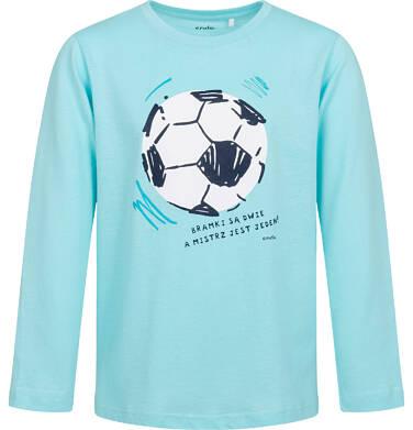 T-shirt z długim rękawem dla chłopca, z piłką nożną, niebieski, 9-13 lat C05G201_1