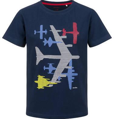 T-shirt z krótkim rękawem dla chłopca, z samolotem, granatowy, 9-13 lat C03G638_1
