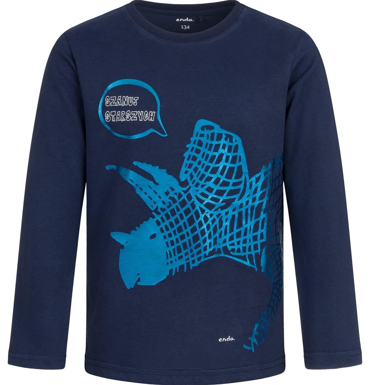Endo - T-shirt z długim rękawem dla chłopca, z dinozaurem, granatowy, 9-13 lat C04G149_2