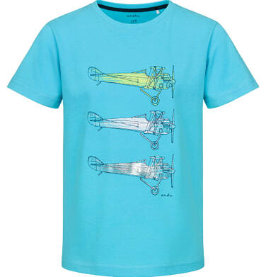 Endo - T-shirt z krótkim rękawem dla chłopca, z samolotami, niebieski, 2-8 lat C03G139_1