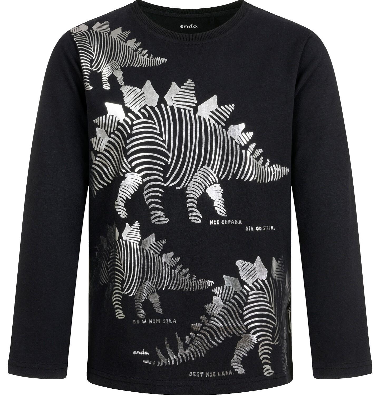 Endo - T-shirt z długim rękawem dla chłopca, z nosorożcem, czarny, 9-13 lat C04G151_1