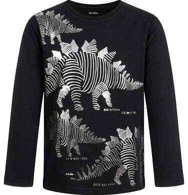 Endo - T-shirt z długim rękawem dla chłopca, z nosorożcem, czarny, 9-13 lat C04G151_1,1
