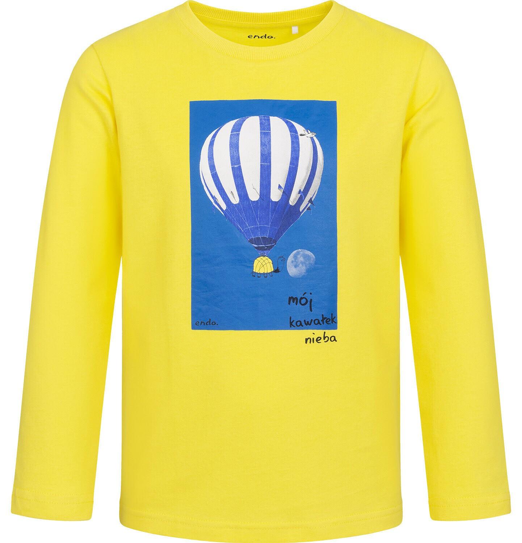 Endo - T-shirt z długim rękawem dla chłopca, z balonem, żółty, 9-13 lat C05G204_1