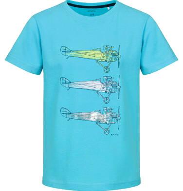 Endo - T-shirt z krótkim rękawem dla chłopca, z samolotami, niebieski, 9-13 lat C03G639_1