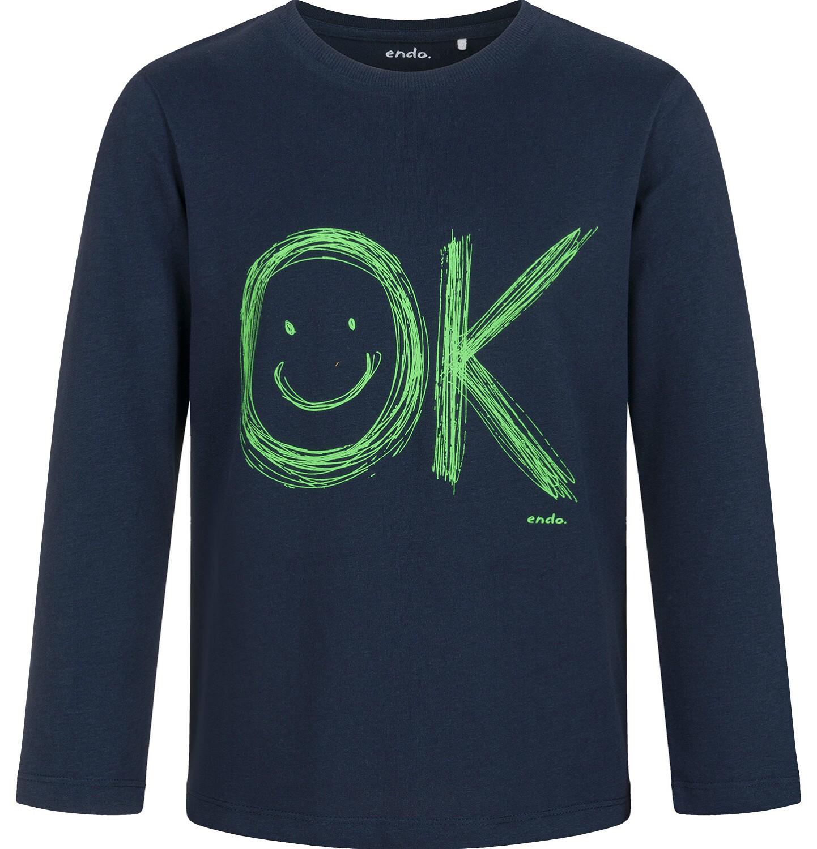 Endo - T-shirt z długim rękawem dla chłopca, granatowy, 5-8 lat C03G182_1
