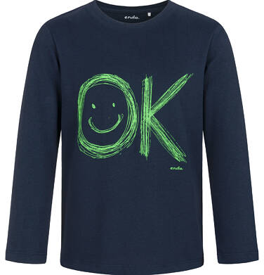 Endo - T-shirt z długim rękawem dla chłopca, granatowy, 5-8 lat C03G182_1 5