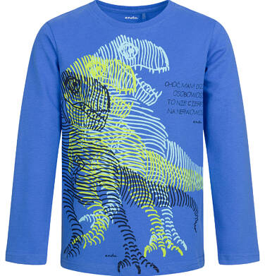 Endo - T-shirt z długim rękawem dla chłopca, dzika osobowość, niebieska, 9-13 lat C04G153_1 49