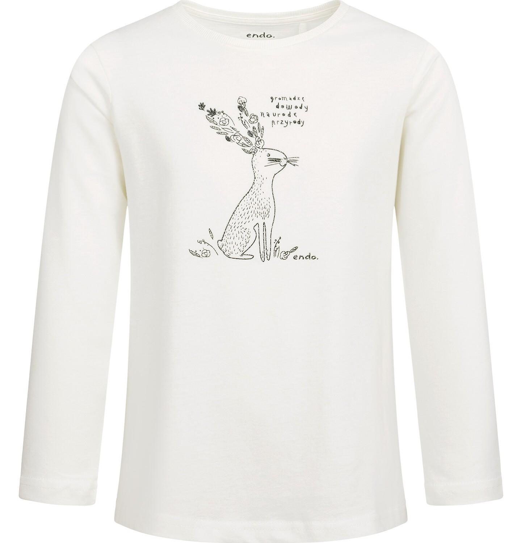 Endo - Bluzka z długim rękawem dla dziewczynki, błyszczący nadruk, porcelanowa, 2-8 lat D04G041_2