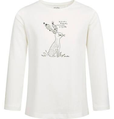 Bluzka z długim rękawem dla dziewczynki, błyszczący nadruk, kremowa, 2-8 lat D04G041_2