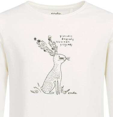 Endo - Bluzka z długim rękawem dla dziewczynki, błyszczący nadruk, porcelanowa, 2-8 lat D04G041_2 24